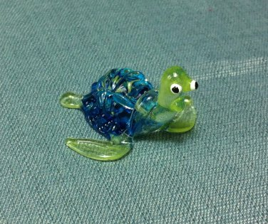 Turtle Blue Miniature Funny Animal Hand Blown Painted Glass Statue Figure Small Craft Collectible