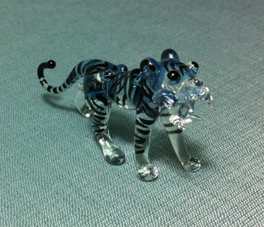 Tiger White Miniature Funny Animal Hand Blown Painted Glass Statue Figure Small Craft Collectible