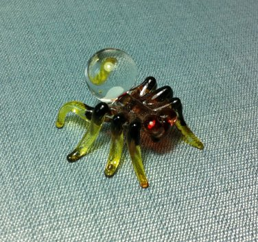 Tarantula Spider Miniature Animal Hand Blown Painted Glass Statue Figure Small Craft Collectible
