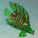 Exotic Fish Green Miniature Animal Hand Blown Painted Glass Statue Figure Small Craft Collectible
