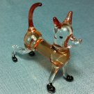 Dog Brown Miniature Funny Animal Hand Blown Painted Glass Statue Figure Small Craft Collectible