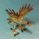 Eagle Bird Brown Miniature Animal Hand Blown Painted Glass Statue Figure Small Craft Collectible
