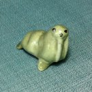 Walrus Grey Miniature Funny Animal Hand Made Painted Ceramic Statue Figure Small Craft Collectible
