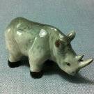 Rhinoceros Grey Miniature Animal Hand Made Painted Ceramic Statue Figure Small Craft Collectible