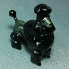 Poodle Dog Black Miniature Animal Hand Made Painted Ceramic Statue Figure Small Craft Collectible