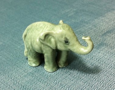 Elephant Grey Miniature Funny Animal Hand Made Painted Ceramic Statue Figure Small Craft Collectible