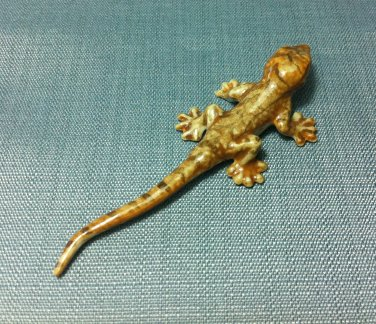 Lizard Miniature Reptile Animal Hand Made Painted Ceramic Statue Figure Small Craft Collectible