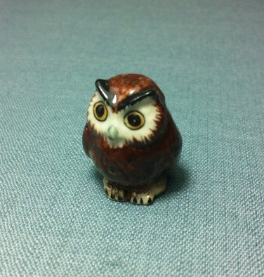 Owl Bird Miniature Funny Animal Hand Made Painted Ceramic Statue Figure Small Craft Collectible