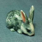 Rabbit Grey Miniature Funny Animal Hand Made Painted Ceramic Statue Figure Small Craft Collectible