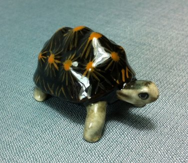 Turtle Black Miniature Funny Animal Hand Made Painted Ceramic Statue Figure Small Craft Collectible