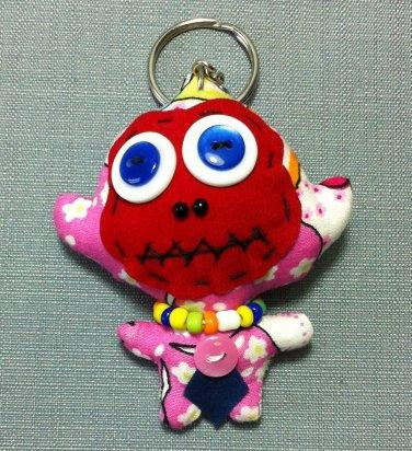 Funky Monkey Cute Animal Pink Vintage Fabric Doll Funny Keyring Keychain Key Ring Key Chain Bag Car