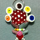 Funky Alien Monster Cute Red Vintage Fabric Doll Funny Keyring Keychain Key Ring Key Chain Bag Car