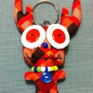 Funky Deer Cute Animal Orange Vintage Fabric Doll Funny Keyring Keychain Key Ring Key Chain Bag Car