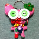Funky Alien Monster Cute Pink Vintage Fabric Doll Funny Keyring Keychain Key Ring Key Chain Bag Car