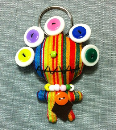 Funky Alien Monster Stripes Vintage Fabric Doll Funny Keyring Keychain Key Ring Key Chain Bag Car