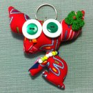 Funky Dog Pet Cute Animal Red Vintage Fabric Doll Funny Keyring Keychain Key Ring Key Chain Bag Car