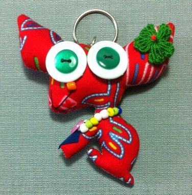 Funky Dog Pet Cute Animal Red Vintage Fabric Doll Funny Keyring Keychain Key Ring Key Chain Bag Car