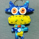 Funky Cow Bull Animal Blue Vintage Fabric Doll Funny Keyring Keychain Key Ring Key Chain Bag Car