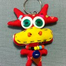Funky Cow Bull Cute Animal Red Vintage Fabric Doll Funny Keyring Keychain Key Ring Key Chain Bag Car