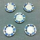 5 Plates Tiny Dishes Round White Blue Ceramic Miniature Dollhouse Decoration Jewelry Hand Painted