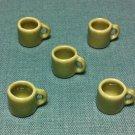 5 Cups Mugs Tea Coffee Tiny Brown Beige Ceramic Miniature Dollhouse Decoration Jewelry Hand Painted