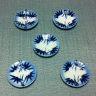 5 Plates Tiny Dishes Round Blue Bamboo Ceramic Miniature Dollhouse Decoration Jewelry Hand Painted