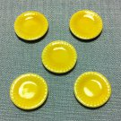 5 Plates Tiny Dishes Round Yellow Ceramic Miniature Dollhouse Decoration Jewelry Hand Painted Supply