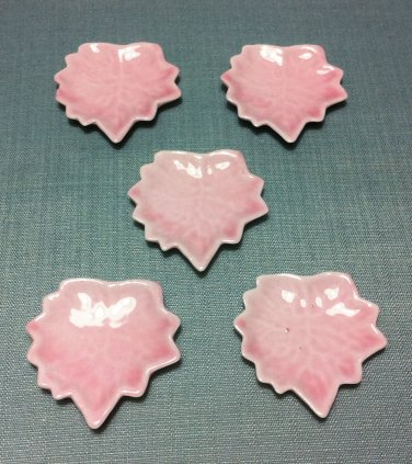 5 Plates Tiny Dishes Leaf Leaves Pink Ceramic Miniature Dollhouse Decoration Jewelry Hand Painted