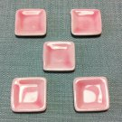 5 Plates Tiny Dish Squared Pink Ceramic Miniature Dollhouse Decoration Jewelry Hand Painted Supply