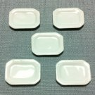 5 Plates Tiny Dish Display Squared White Ceramic Miniature Dollhouse Decoration Jewelry Hand Painted