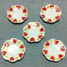 5 Plates Tiny Dishes Round White Heart Ceramic Miniature Dollhouse Decoration Jewelry Hand Painted