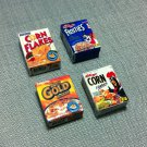 4 Boxes Packets Packs Breakfast Cornflakes Kellogg's Frosties Miniature Dollhouse Jewelry Decoration