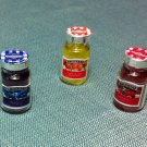 3 Bottles Jars Jar Food Glass Fruit Jam Breakfast Marmelade Miniature Dollhouse Jewelry Decoration