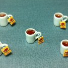 5 Cups Mugs Tea Lipton Tiny White Ceramic Resin Miniature Dollhouse Decoration Jewelry Hand Made