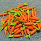 20 Carrots Carrot Vegetables Veggies Tiny Orange Food Clay Fimo Miniature Dollhouse Jewelry Beads