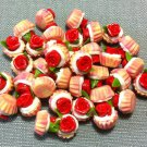 10 Cupcakes Cupcake Food Pink Flowers Roses Cakes Tiny Clay Fimo Miniature Dollhouse Jewelry Beads