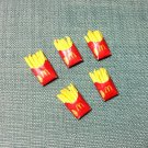 5 French Fries Packets Packs Potato Snack Tiny Fast Food Clay Fimo Miniature Dollhouse Jewelry Beads