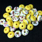 20 Donuts Cookies White Round Food Cakes Tiny Food Clay Fimo Miniature Dollhouse Jewelry Beads