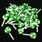 20 Lollipops Sweets Candy Lollipop Green White Tiny Food Clay Fimo Miniature Dollhouse Jewelry Beads
