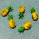5 Pineapples Pineapple Orange Green Fruit Fruits Tiny Food Clay Fimo Miniature Dollhouse Jewelry