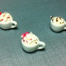 3 Cups Mugs Drink Cream Coffee Capuccino Ceramic Clay Fimo Miniature Dollhouse Jewelry Decoration