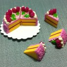 8 Slices Cake Food Purple Cream Roses Tiny Pastry Clay Fimo Miniature Dollhouse Jewelry Hand Made