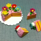 8 Slices Cake Food Pink Cream Flowers Tiny Pastry Clay Fimo Miniature Dollhouse Jewelry Hand Made