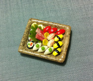 1 Sushis Set Japanese Plate Fish Japan Food Clay Fimo Dish Miniature Dollhouse Jewelry Decoration