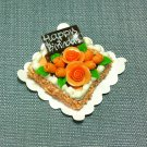 Birthday Valentine Cake Food Orange Roses Tiny Clay Fimo Miniature Dollhouse Jewelry Hand Made