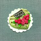 Birthday Valentine Cake Food Heart Green Roses Tiny Clay Fimo Miniature Dollhouse Jewelry Hand Made