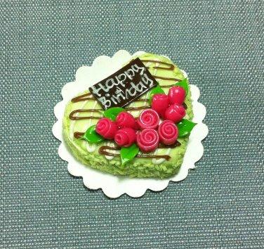 Birthday Valentine Cake Food Heart Green Roses Tiny Clay Fimo Miniature Dollhouse Jewelry Hand Made