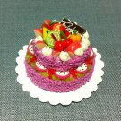 Birthday Marriage Cake Food Pink Fruits Tiny Clay Fimo Miniature Dollhouse Jewelry Hand Made