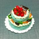 Birthday Marriage Cake Food Blue Fruits Tiny Clay Fimo Miniature Dollhouse Jewelry Hand Made