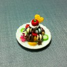 1 Ice Cream Plate Fruits Cherry Lemon Food Clay Fimo Ceramic Miniature Dollhouse Jewelry Decoration
